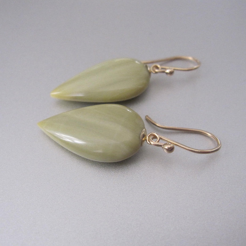 Light Green Jasper Inverted Drops Solid 14k Yellow Gold Earrings