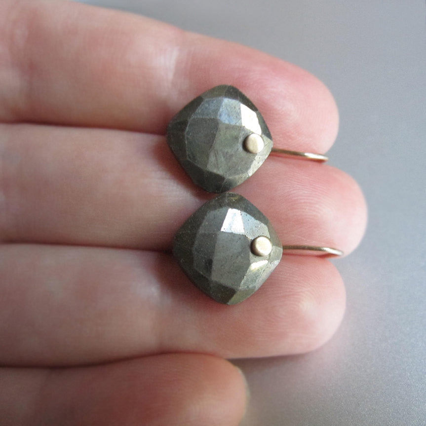 Pyrite Faceted Cushion Drops Solid 14k Gold Earrings