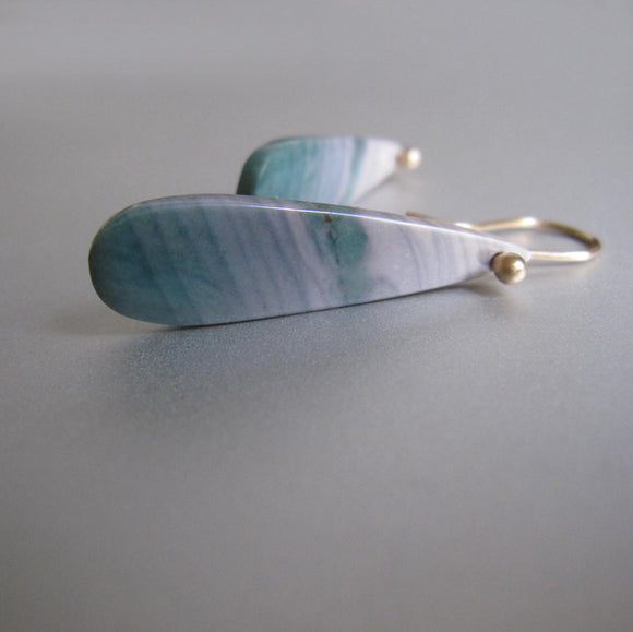 Long Wave Ocean Jasper Drops Solid 14k Gold Earrings