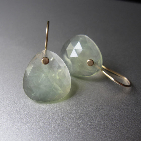 Rose Cut Prehnite Drops Solid 14k Gold Earrings