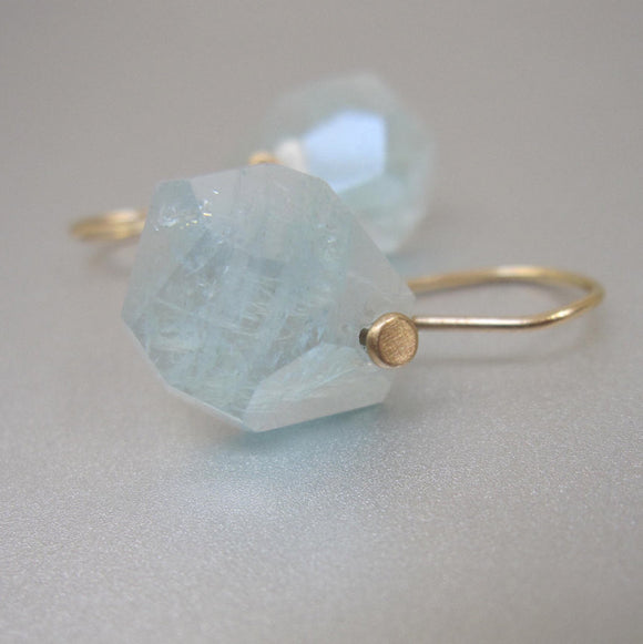 aquamarine faceted nugget solid 14k gold earrings