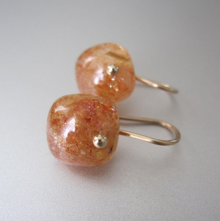 Small Sunstone Cushions Solid 14k Gold Earrings