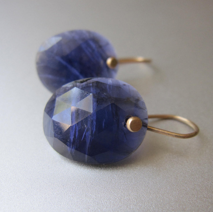 Rose Cut Iolite Oval Drops Solid 14k Gold Earrings