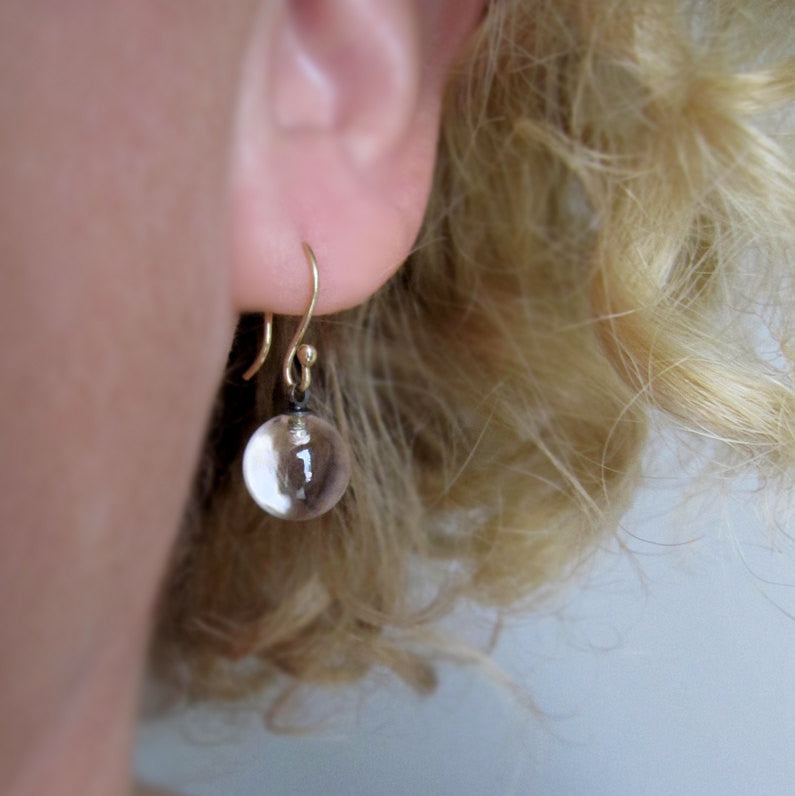 Rock Crystal Quartz Marbles Solid 14k Gold Earrings Pools of Light