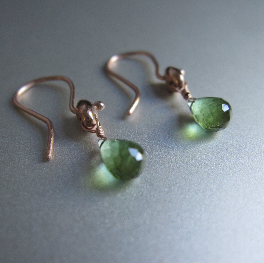 green tourmaline drops marine link solid 14k rose gold earrings3