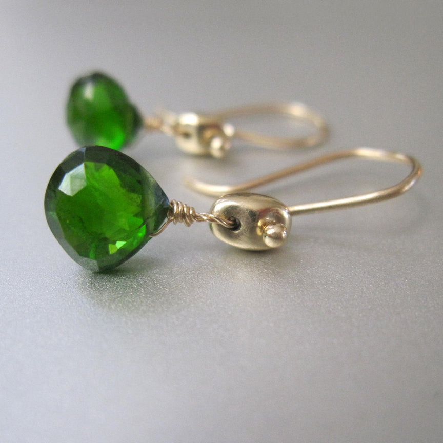 green chrome diopside drop marine link solid gold 14k earrings