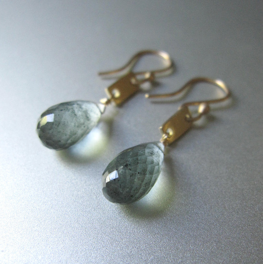 Moss Aquamarine Drops and Gold Rectangles Solid 14k Gold Earrings