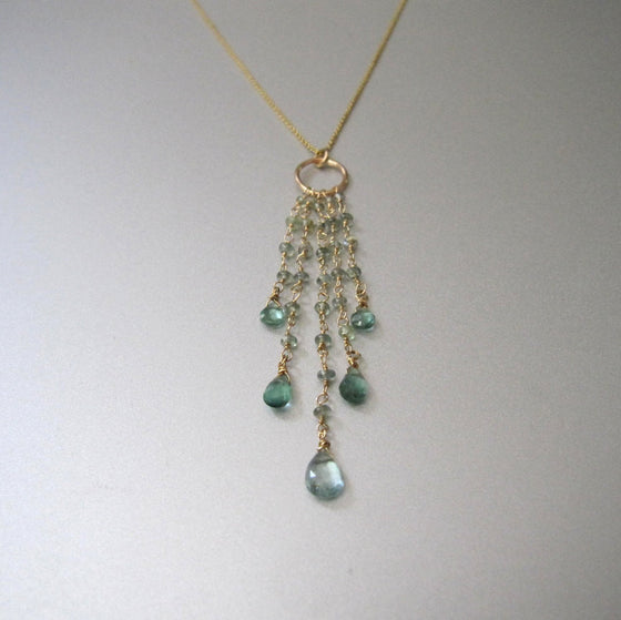 cascade fringe necklace of chrysoberyl and green tourmaline solid 14k gold necklace