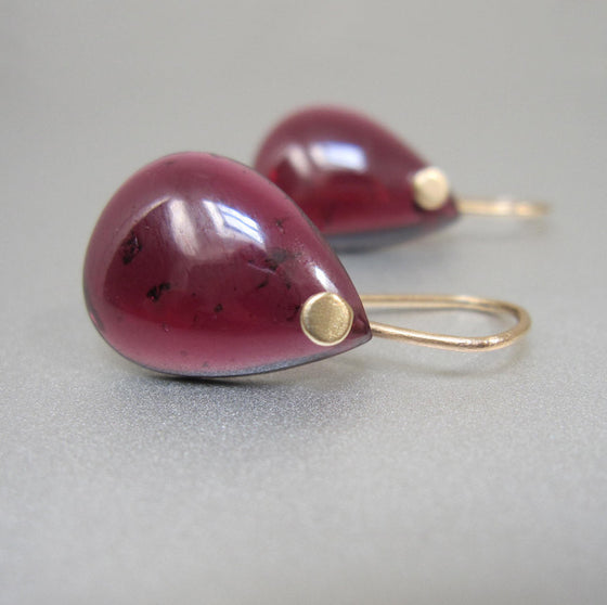 Smooth Garnet Drops Solid 14k Gold Earrings