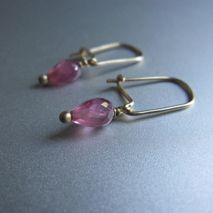 Pink Sapphire Drops 18K Gold Kidney Wire Solid Gold Earrings