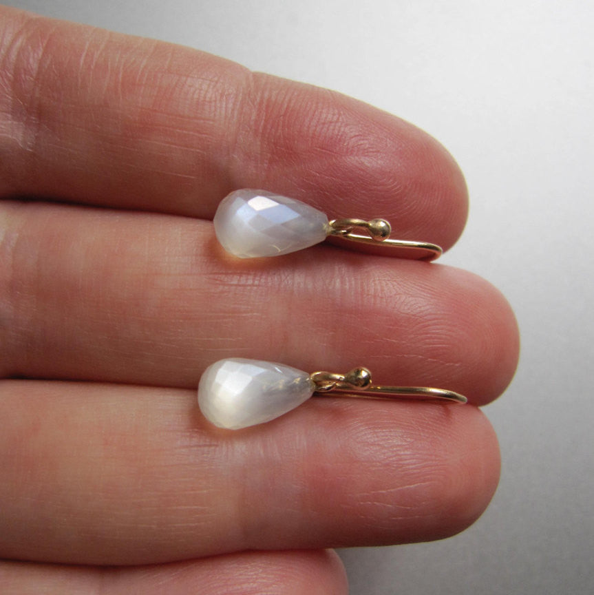 Small Faceted White Moonstone Drops Solid 14k Gold Earrings