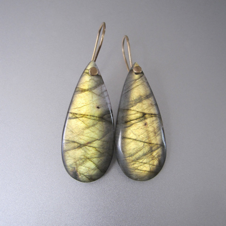 Labradorite Golden Green Drops Solid 14k Gold Earrings