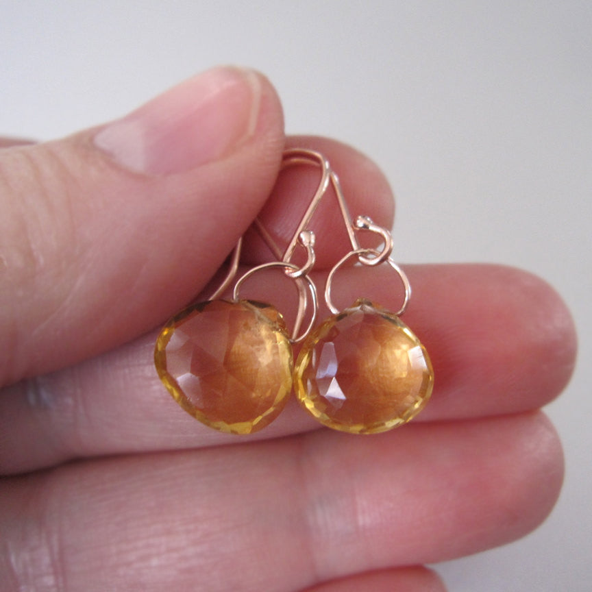 faceted ctrine drops solid 14k rose gold earrings3