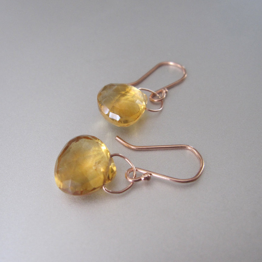 faceted ctrine drops solid 14k rose gold earrings2