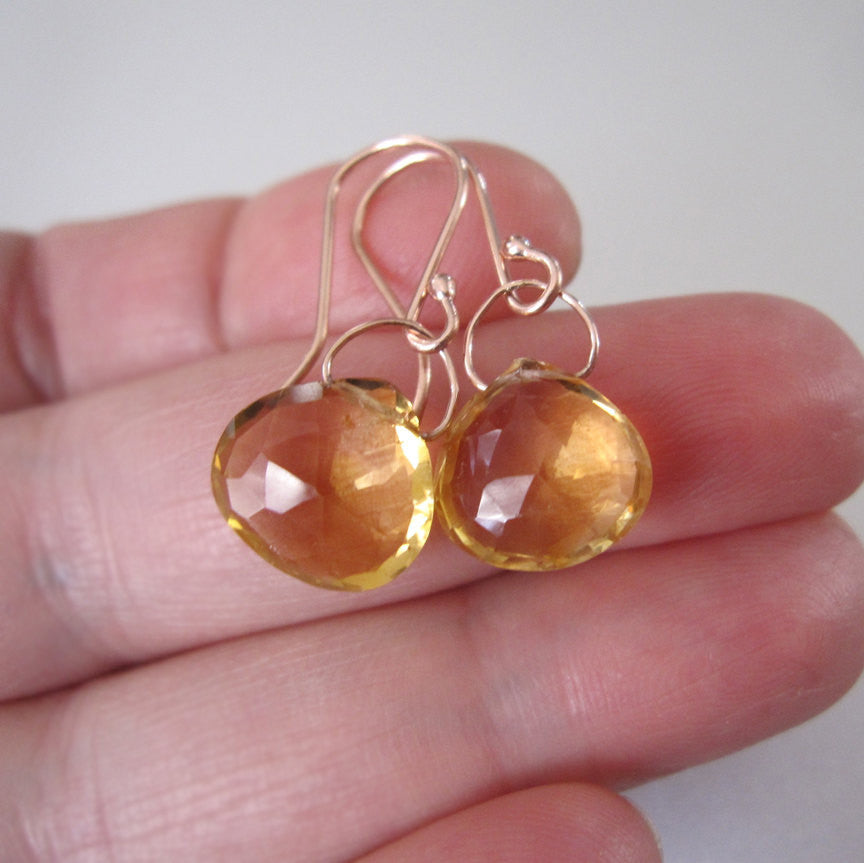 faceted ctrine drops solid 14k rose gold earrings5