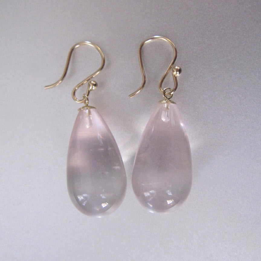 Smooth Rose Quartz Long Drops Solid 14k Gold Earrings