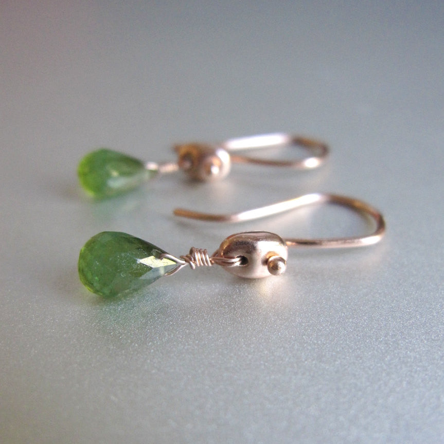 green tourmaline drops marine link solid 14k rose gold earrings