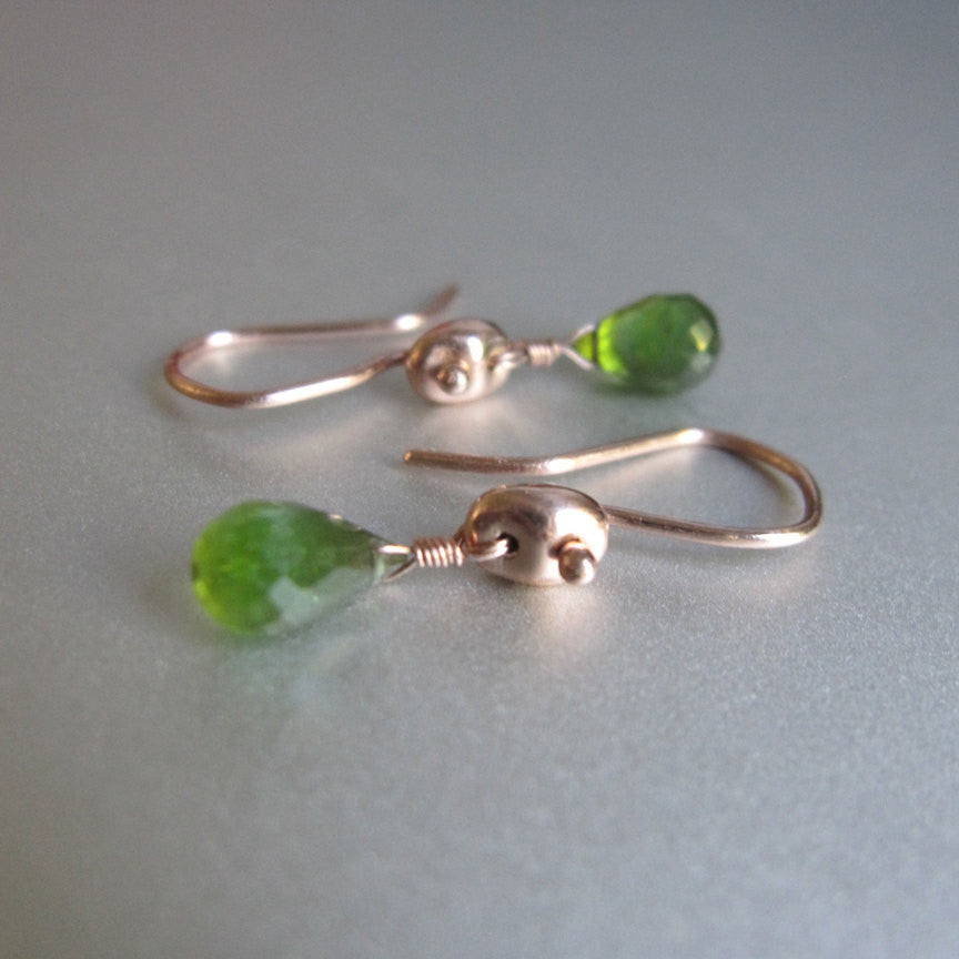 green tourmaline drops marine link solid 14k rose gold earrings2