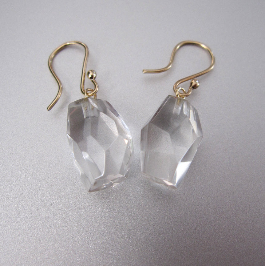 Faceted Quartz Nuggets Solid 14k Gold Earrings