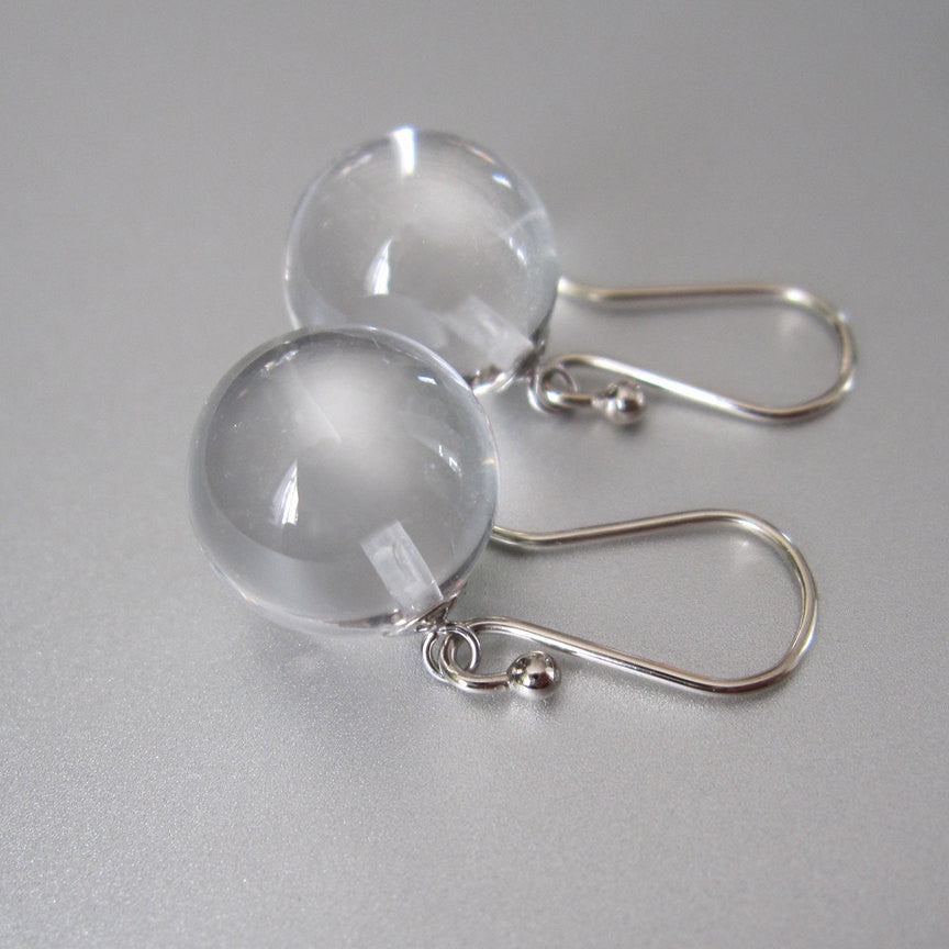Clear quartz orbs pools of light solid 14k white gold earrings