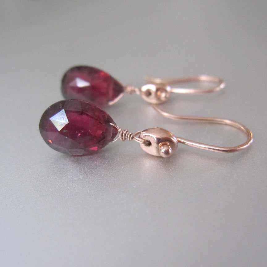 Rubellite Tourmaline Drops Marine Link Solid 14k Rose Gold Earrings