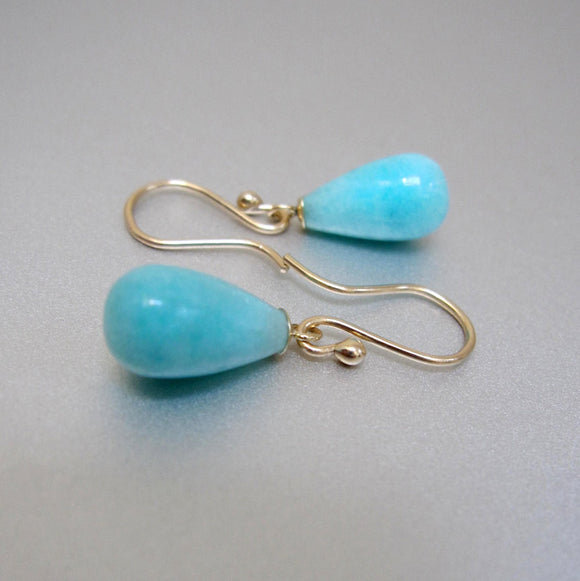amazonite small drops solid 14k gold earrings