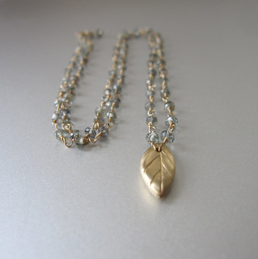 Green Sapphire Leaf Solid 14k Gold Necklace