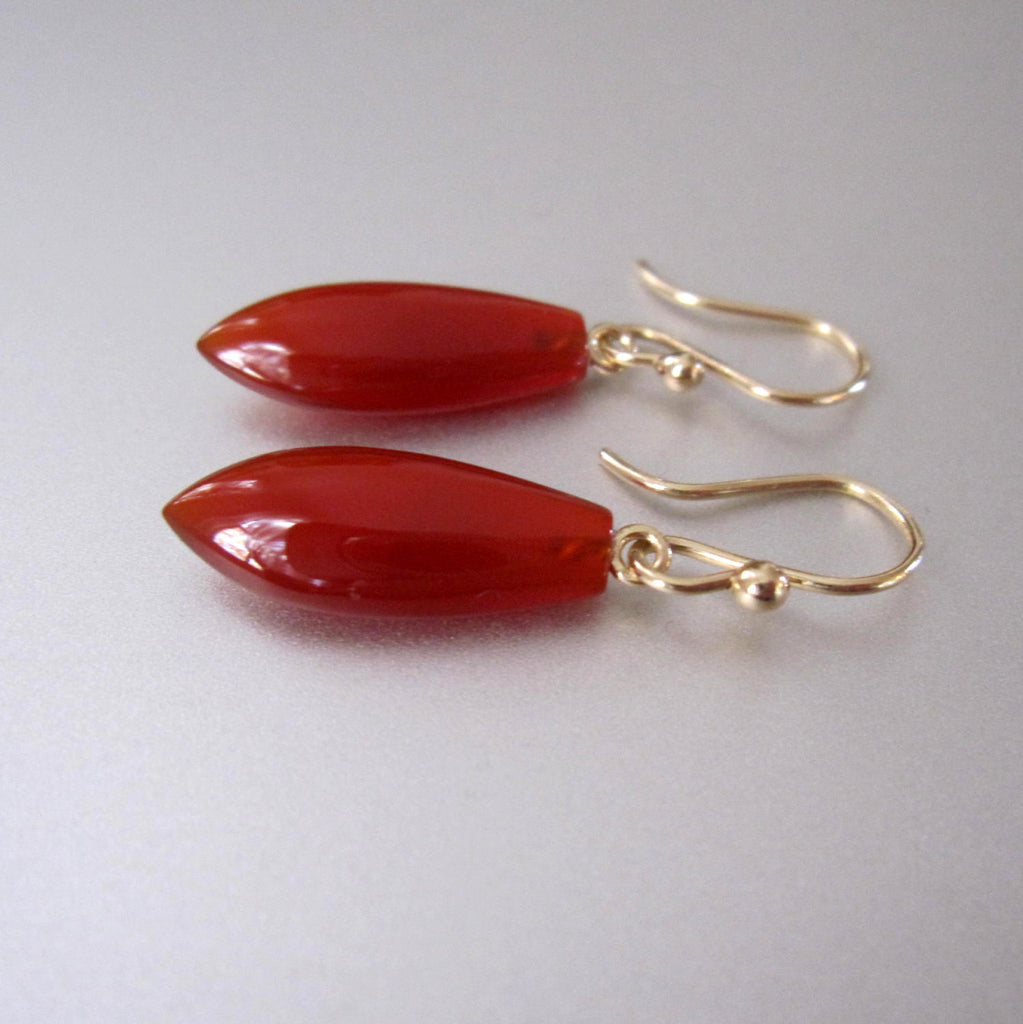 pointed carnelian drop solid 14k gold earrings