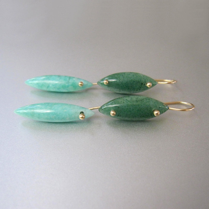 Long Aventurine and Amazonite Double Drop Marquise Solid 14k Gold Earrings