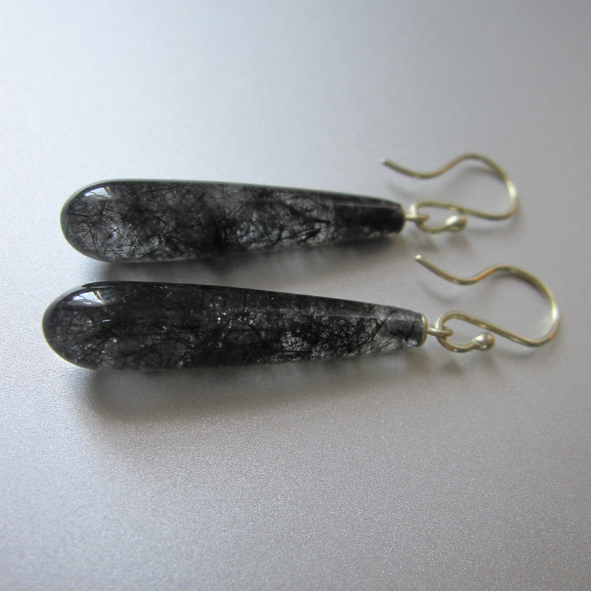 long rutilated quartz drops solid 14k green gold earrings