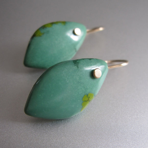 Green Turquoise Drops Solid 14k Gold Earrings