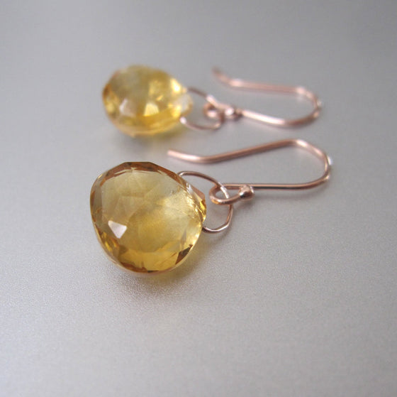 faceted ctrine drops solid 14k rose gold earrings