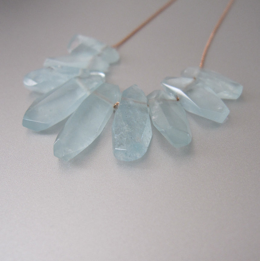 aquamarine fringe solid 14k rose gold necklace2