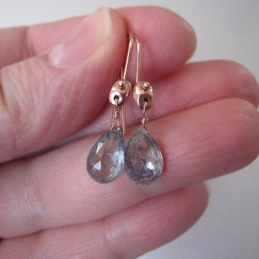 light blue green sapphire drops solid 14k rose gold earrings5