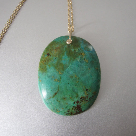 Large Green Turquoise Drop Solid 14k Gold Necklace