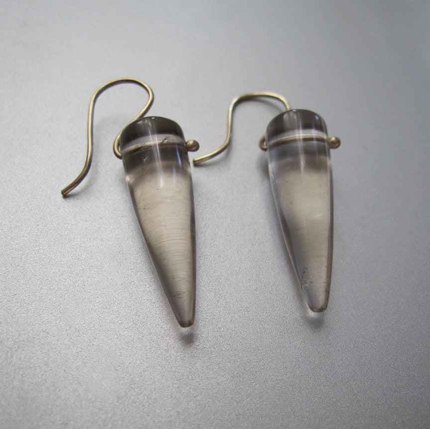 Smoky Quartz Pointed Drops Solid 14k Gold Earrings