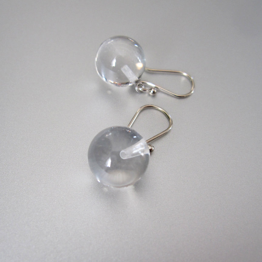 Clear quartz orbs pools of light solid 14k white gold earrings2