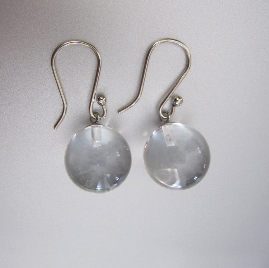 Clear quartz orbs pools of light solid 14k white gold earrings3