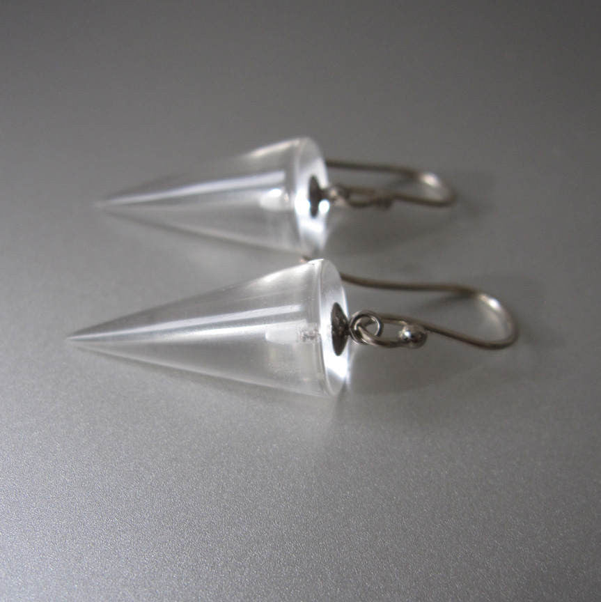 Quartz Crystal Cone Drops Solid 14k white Gold Earrings
