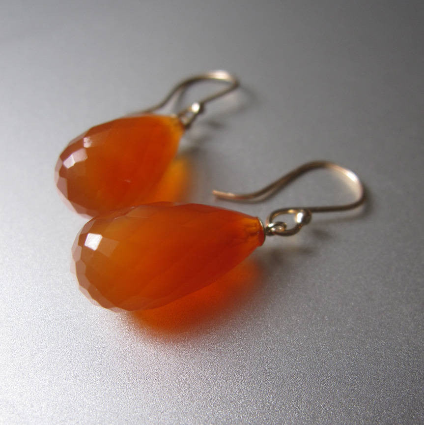 faceted orange carnelian drops solid 14k gold earrings