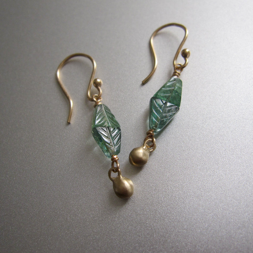 blue green tourmaline carved bead solid 14k gold drop earrings3