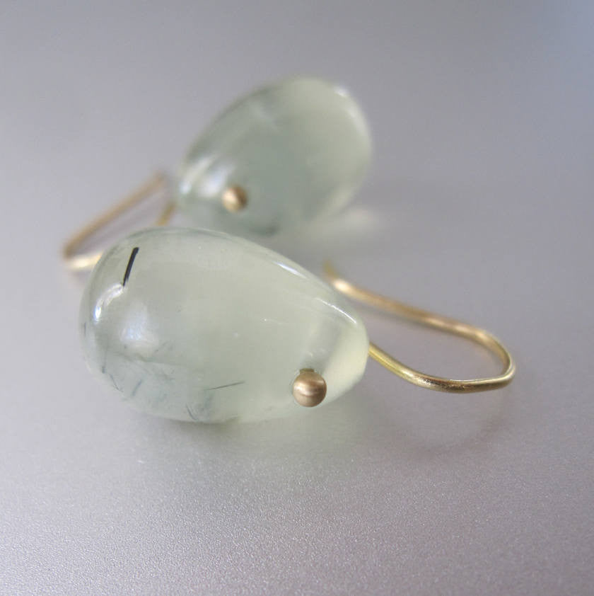 Rutilated Prehnite Jelly Bean Drops Solid 18k Gold Earrings