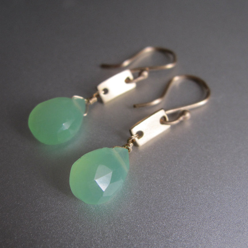chrysoprase drops solid 14k gold rectangle link earrings