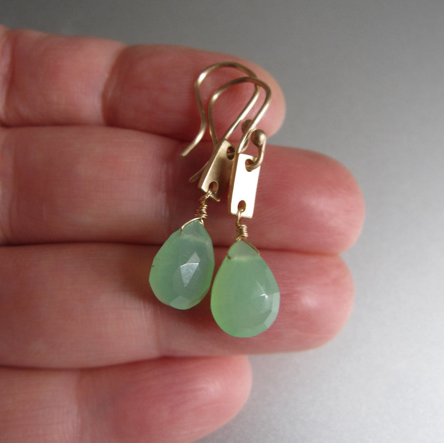 chrysoprase drops solid 14k gold rectangle link earrings5