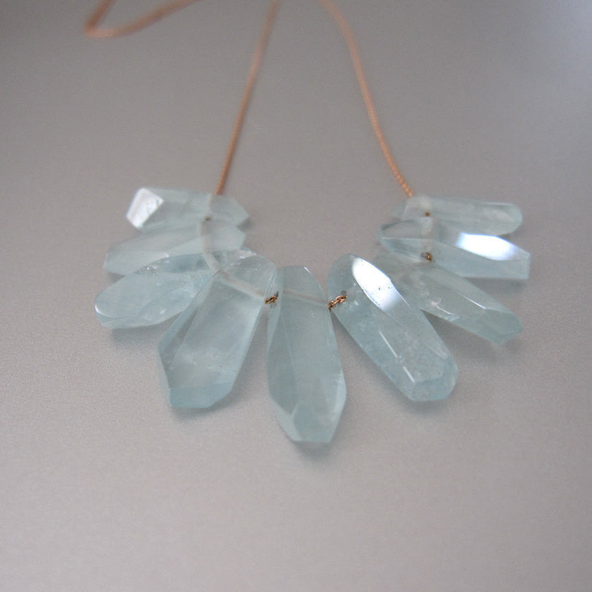 aquamarine fringe solid 14k rose gold necklace