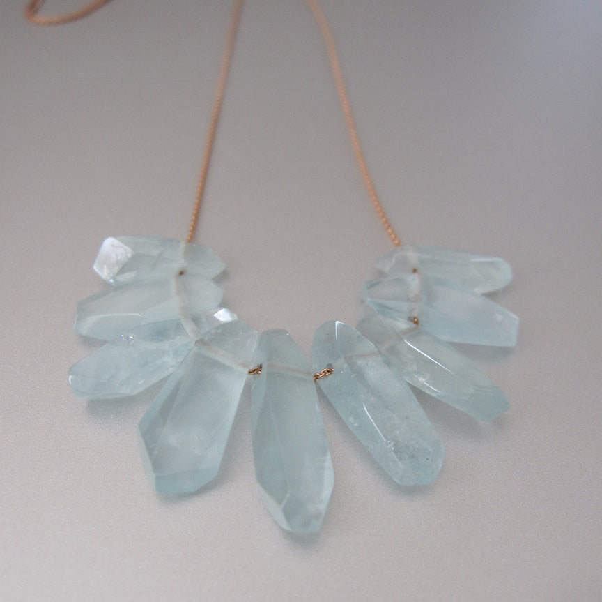aquamarine fringe solid 14k rose gold necklace3