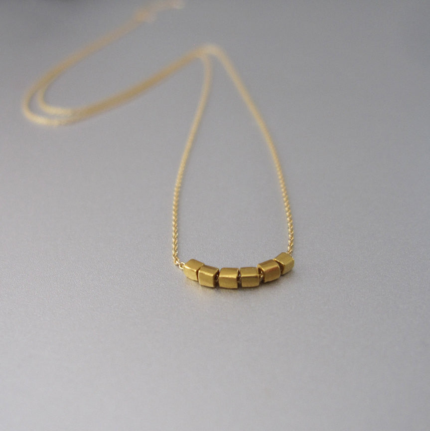 Solid 18k Gold Tiny Cube Bead Necklace