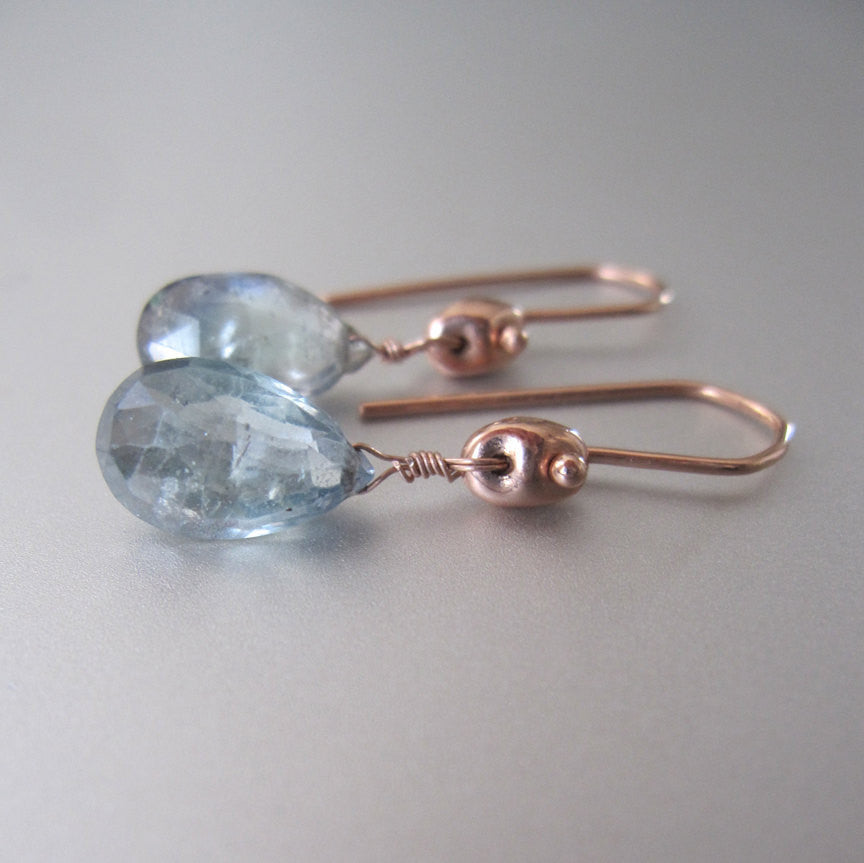 light blue green sapphire drops solid 14k rose gold earrings