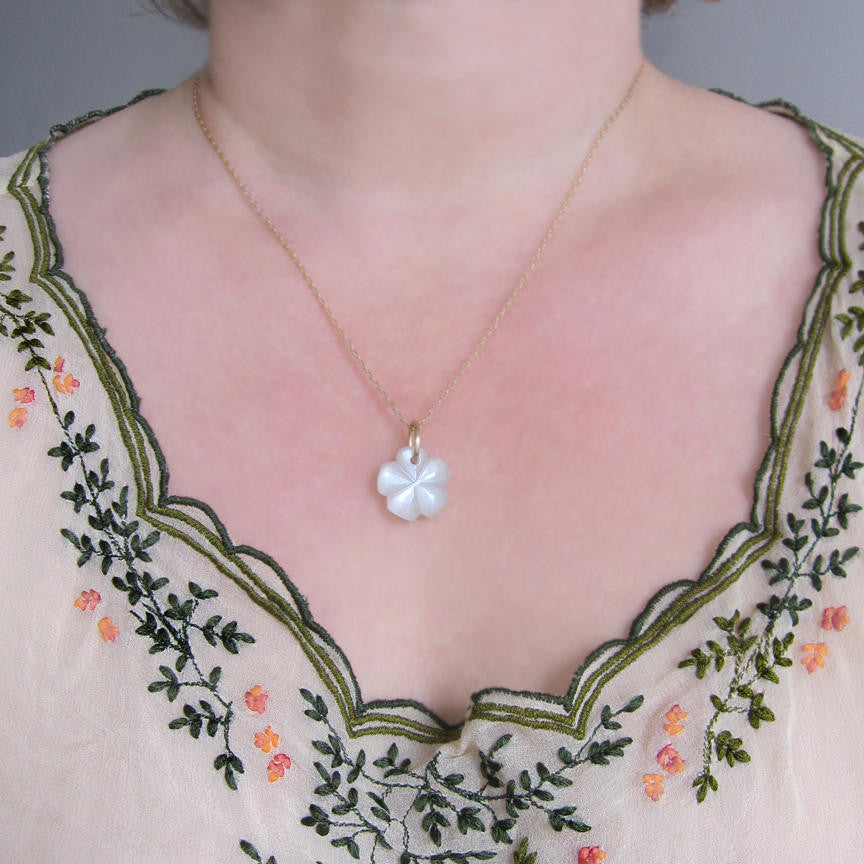 moonstone flower drop solid 14k gold necklace