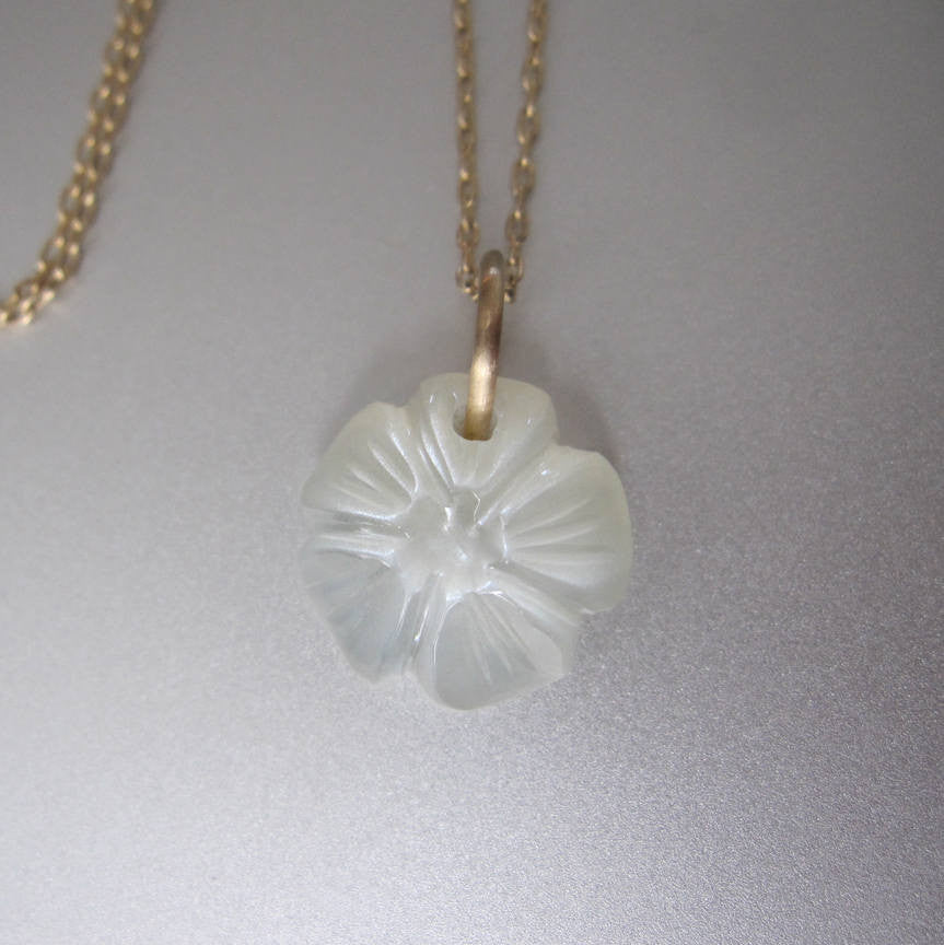 moonstone flower drop solid 14k gold necklace2